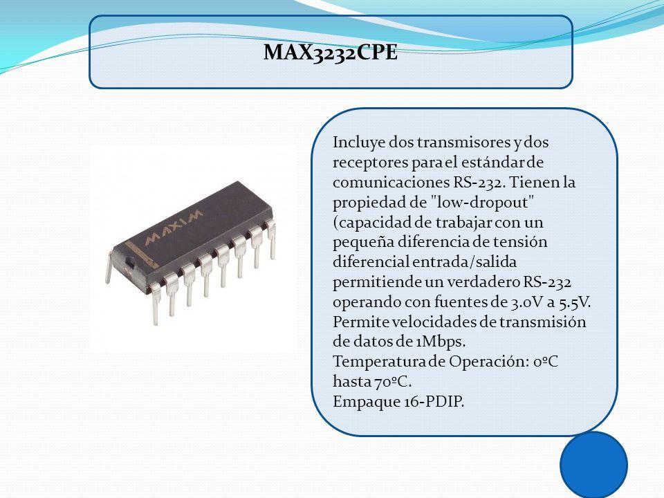 Incluye dos transmisores y dos receptores para el estándar de comunicaciones RS-232. Tienen la propiedad de