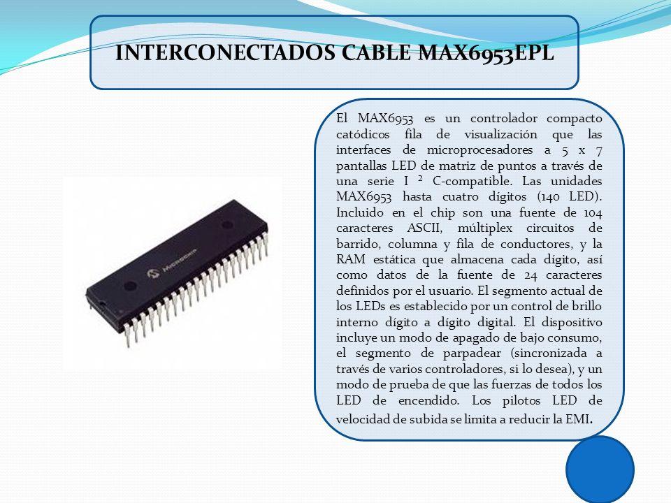 El MAX6953 es un controlador compacto catódicos fila de visualización que las interfaces de microprocesadores a 5 x 7 pantallas LED de matriz de punto