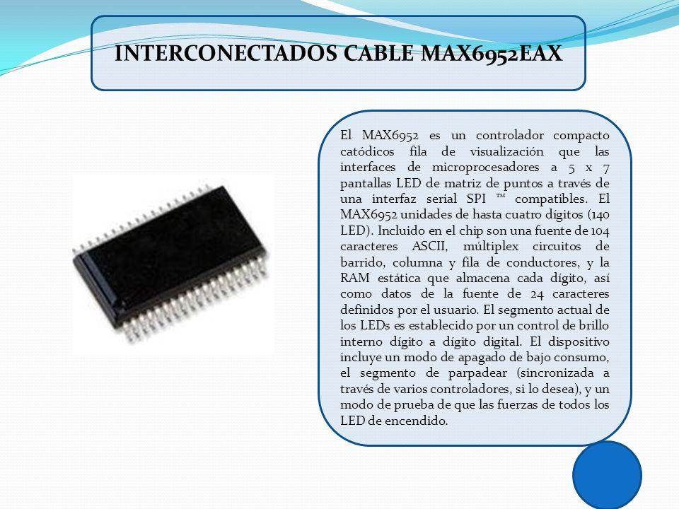 El MAX6952 es un controlador compacto catódicos fila de visualización que las interfaces de microprocesadores a 5 x 7 pantallas LED de matriz de punto