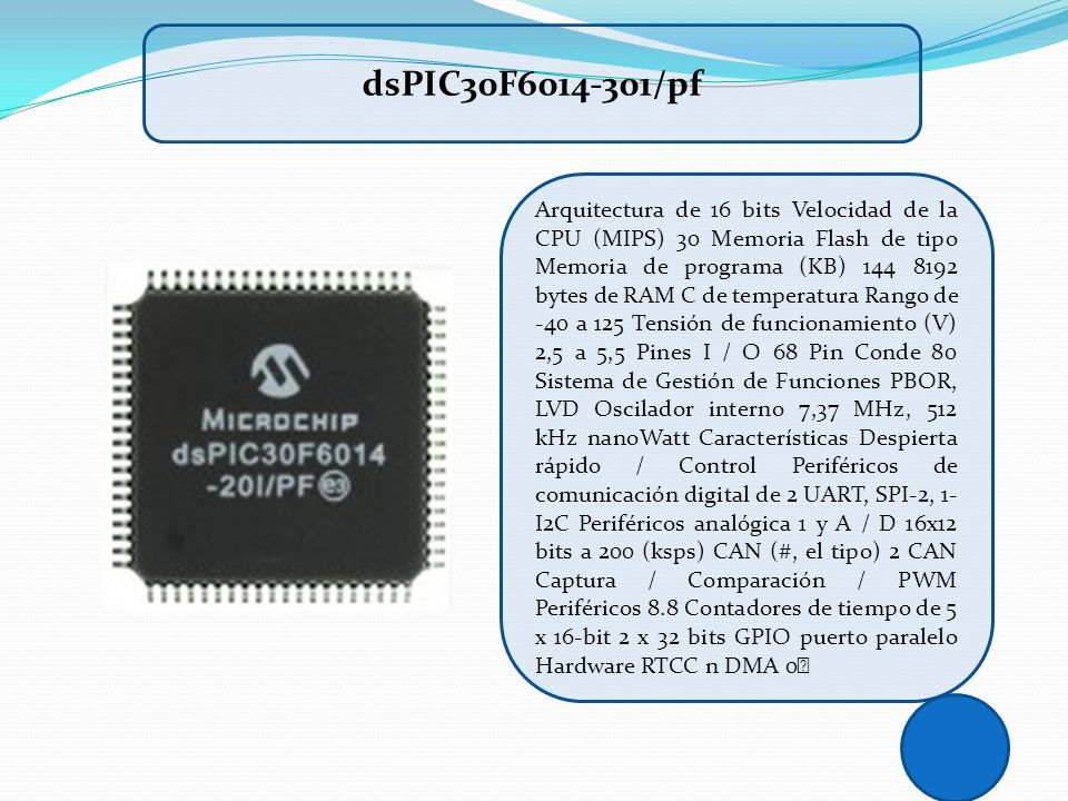 Arquitectura de 16 bits Velocidad de la CPU (MIPS) 30 Memoria Flash de tipo Memoria de programa (KB) 144 8192 bytes de RAM C de temperatura Rango de -