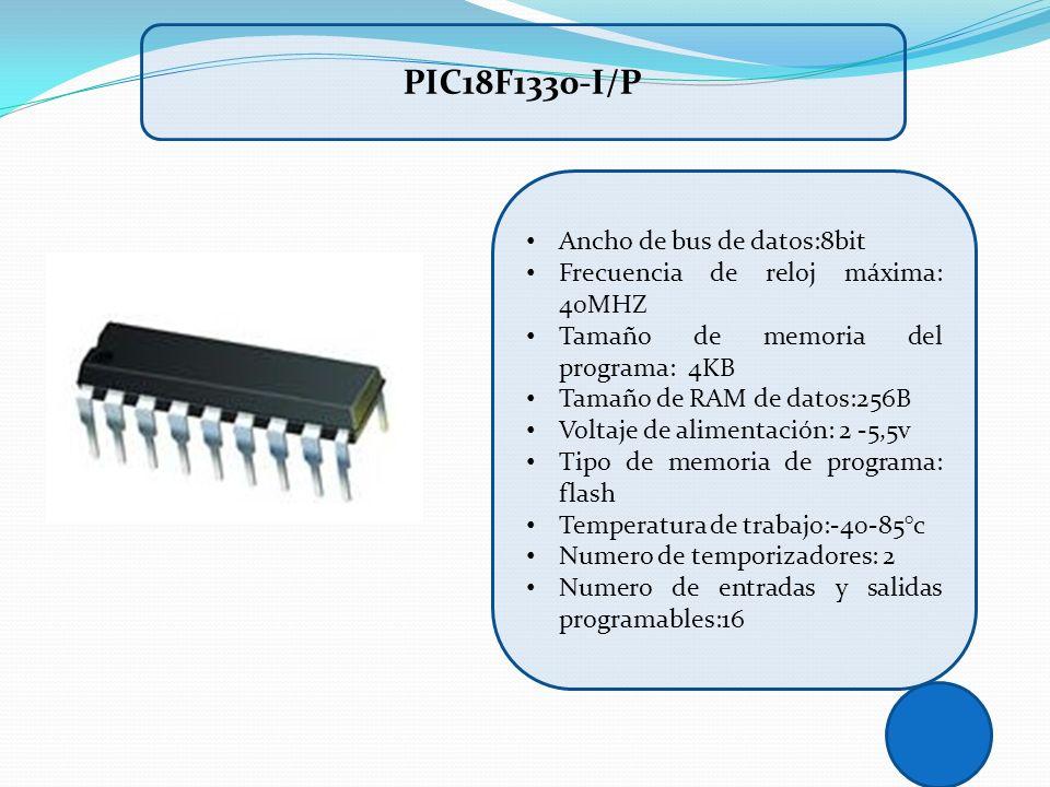 Ancho de bus de datos:8bit Frecuencia de reloj máxima: 40MHZ Tamaño de memoria del programa: 4KB Tamaño de RAM de datos:256B Voltaje de alimentación: