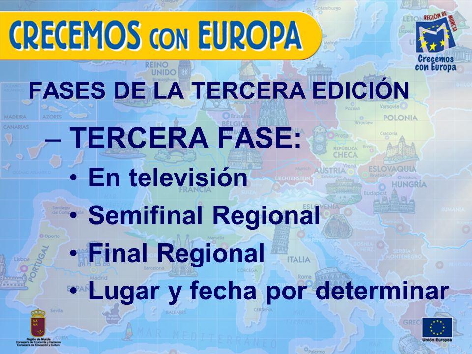 FASES DE LA TERCERA EDICIÓN – TERCERA FASE: En televisión Semifinal Regional Final Regional Lugar y fecha por determinar