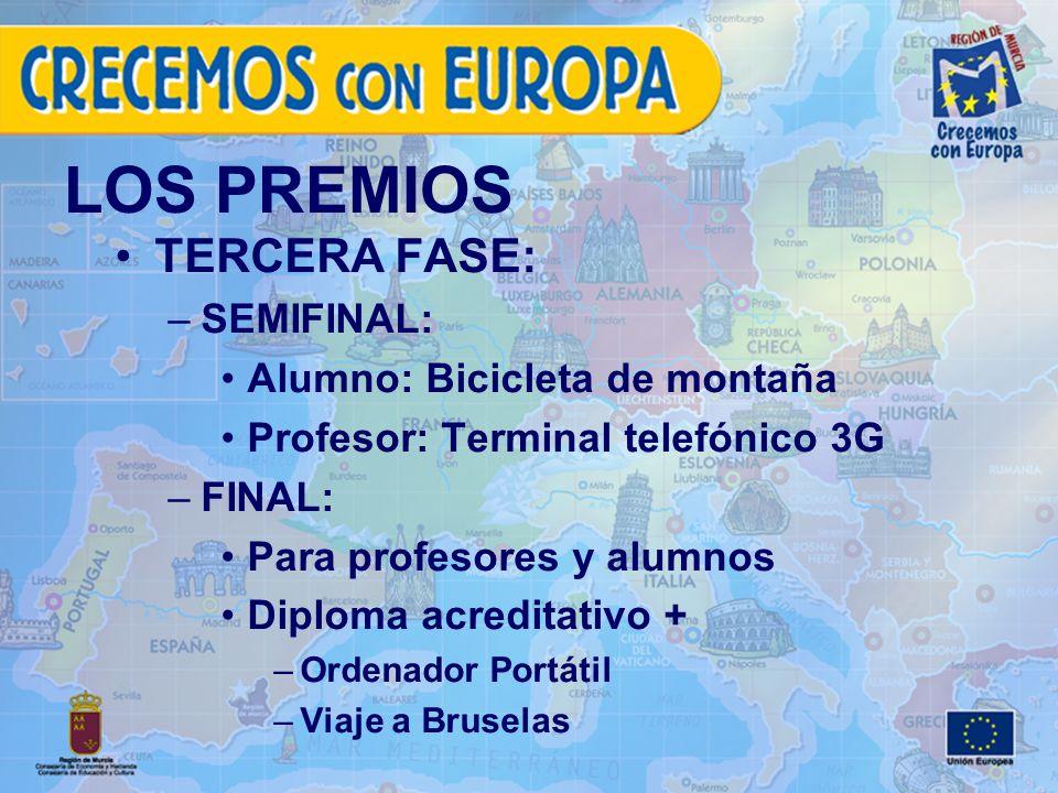 LOS PREMIOS TERCERA FASE: –SEMIFINAL: Alumno: Bicicleta de montaña Profesor: Terminal telefónico 3G –FINAL: Para profesores y alumnos Diploma acreditativo + –Ordenador Portátil –Viaje a Bruselas