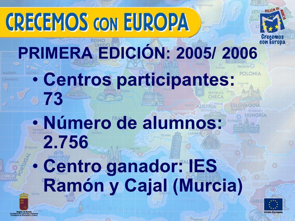 PRIMERA EDICIÓN: 2005/ 2006 Centros participantes: 73 Número de alumnos: 2.756 Centro ganador: IES Ramón y Cajal (Murcia)