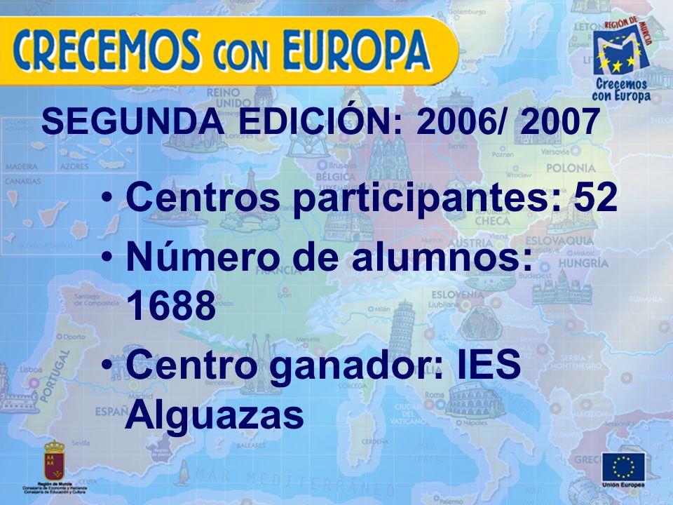 SEGUNDA EDICIÓN: 2006/ 2007 Centros participantes: 52 Número de alumnos: 1688 Centro ganador: IES Alguazas