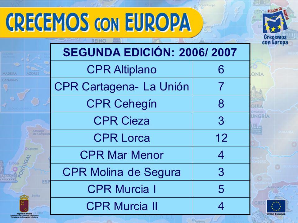 SEGUNDA EDICIÓN: 2006/ 2007 CPR Altiplano6 CPR Cartagena- La Unión7 CPR Cehegín8 CPR Cieza3 CPR Lorca12 CPR Mar Menor4 CPR Molina de Segura3 CPR Murcia I5 CPR Murcia II4