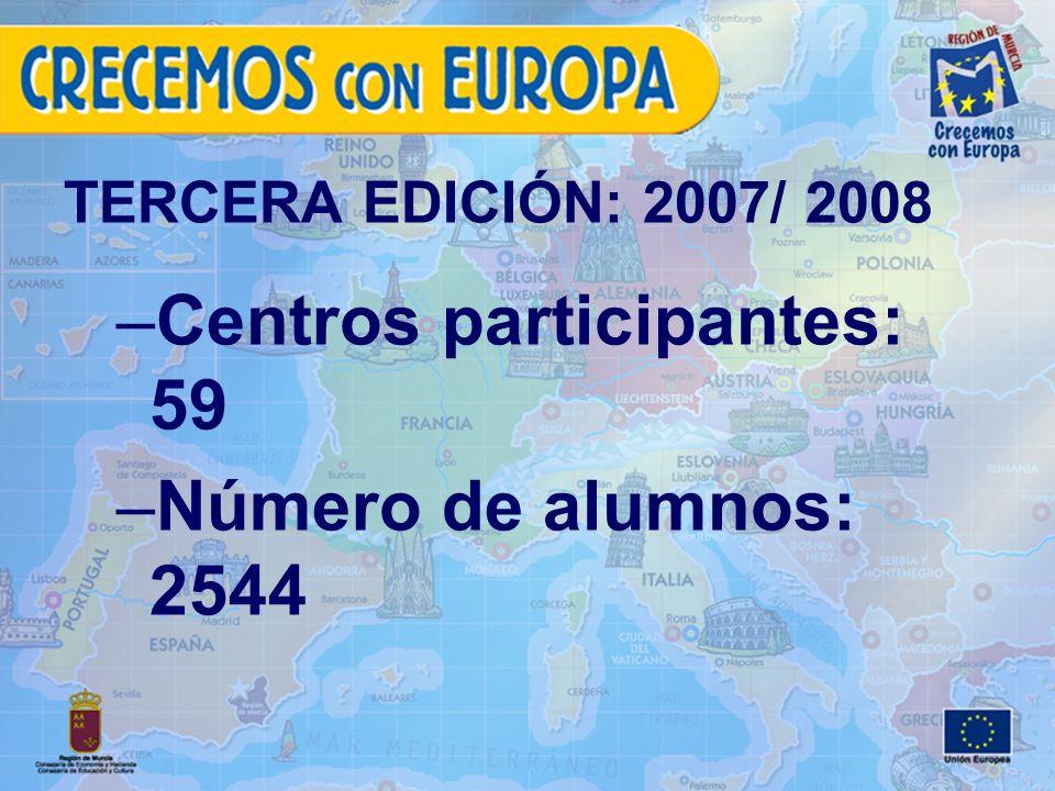 TERCERA EDICIÓN: 2007/ 2008 –Centros participantes: 59 –Número de alumnos: 2544