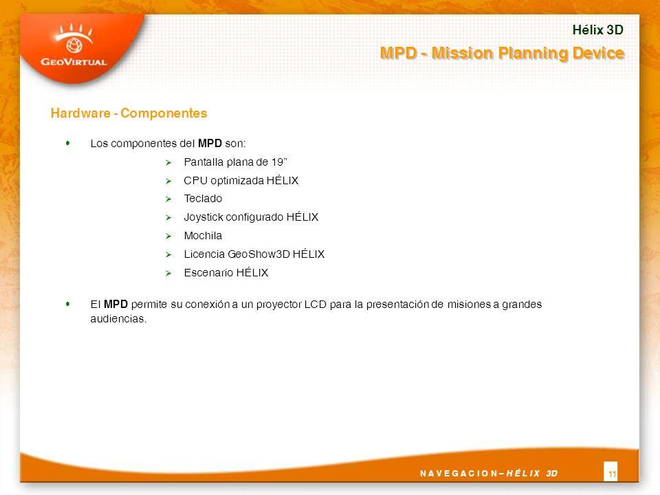 Los componentes del MPD son: Pantalla plana de 19 CPU optimizada HÉLIX Teclado Joystick configurado HÉLIX Mochila Licencia GeoShow3D HÉLIX Escenario HÉLIX El MPD permite su conexión a un proyector LCD para la presentación de misiones a grandes audiencias.