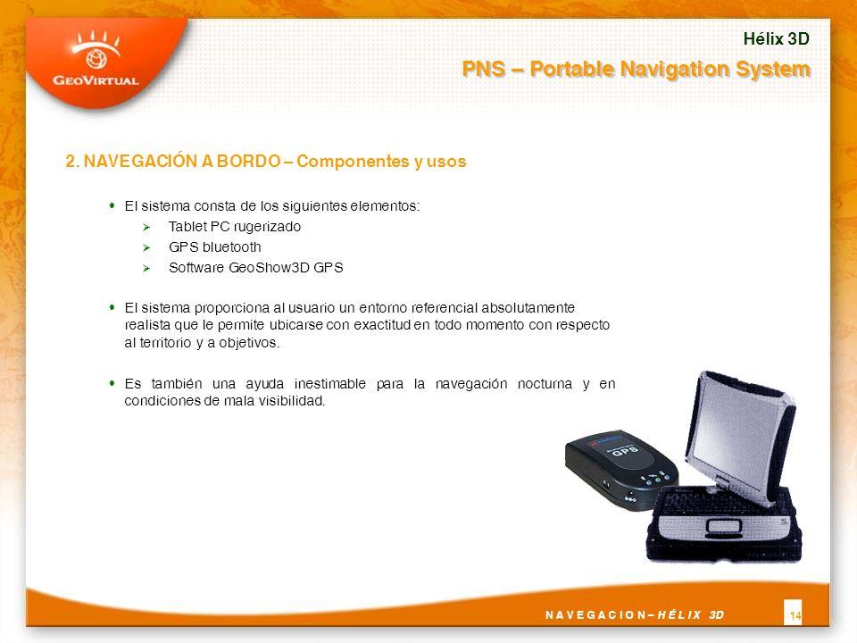 El sistema consta de los siguientes elementos: Tablet PC rugerizado GPS bluetooth Software GeoShow3D GPS El sistema proporciona al usuario un entorno referencial absolutamente realista que le permite ubicarse con exactitud en todo momento con respecto al territorio y a objetivos.