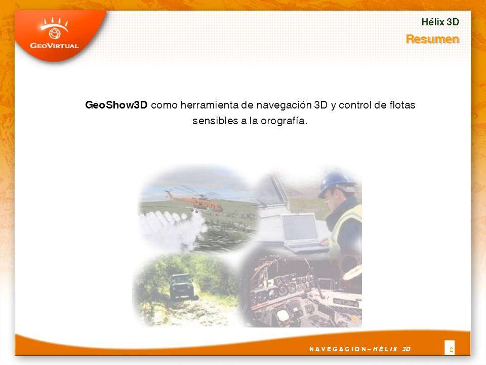 Resumen GeoShow3D como herramienta de navegación 3D y control de flotas sensibles a la orografía.