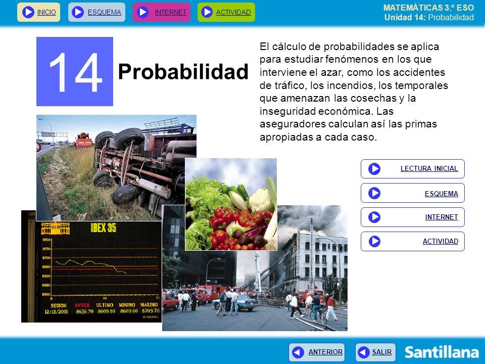 MATEMÁTICAS 3.º ESO Unidad 14: Probabilidad INICIOESQUEMA INTERNETACTIVIDAD ANTERIOR SALIR 14 Probabilidad El cálculo de probabilidades se aplica para