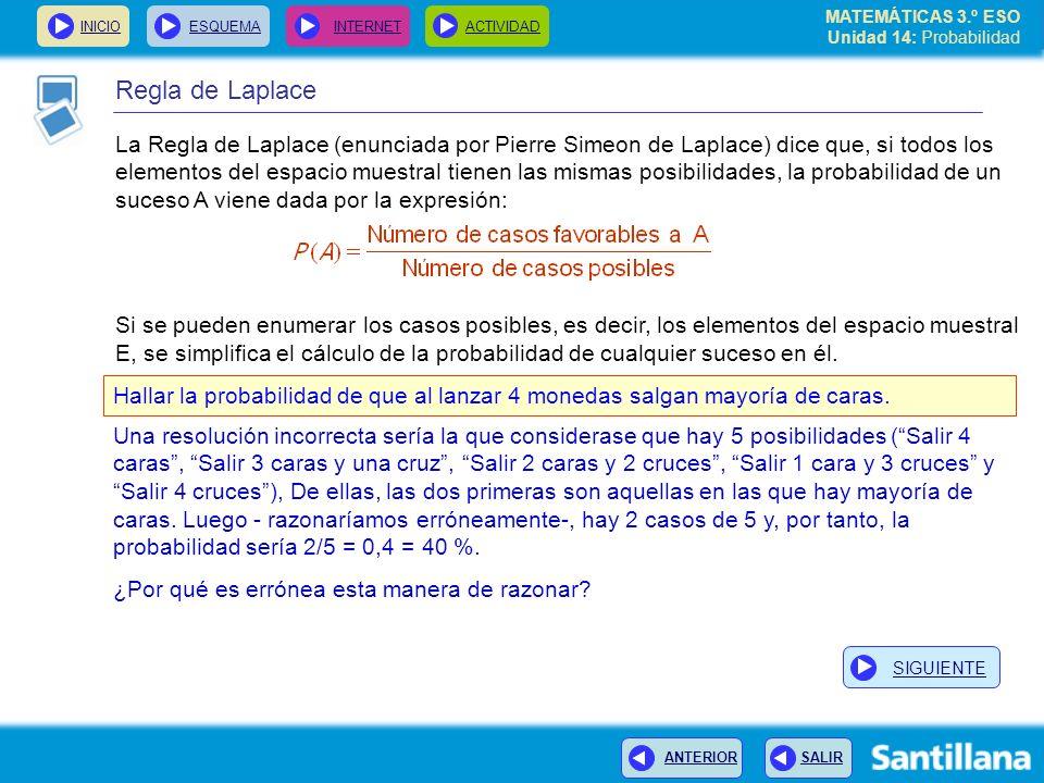 MATEMÁTICAS 3.º ESO Unidad 14: Probabilidad INICIOESQUEMA INTERNETACTIVIDAD ANTERIOR SALIR Regla de Laplace La Regla de Laplace (enunciada por Pierre