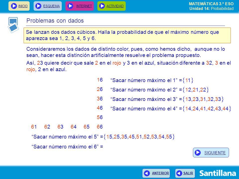 MATEMÁTICAS 3.º ESO Unidad 14: Probabilidad INICIOESQUEMA INTERNETACTIVIDAD ANTERIOR SALIR Problemas con dados Consideraremos los dados de distinto co