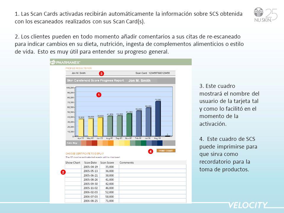 1. Las Scan Cards activadas recibirán automáticamente la información sobre SCS obtenida con los escaneados realizados con sus Scan Card(s). 2. Los cli