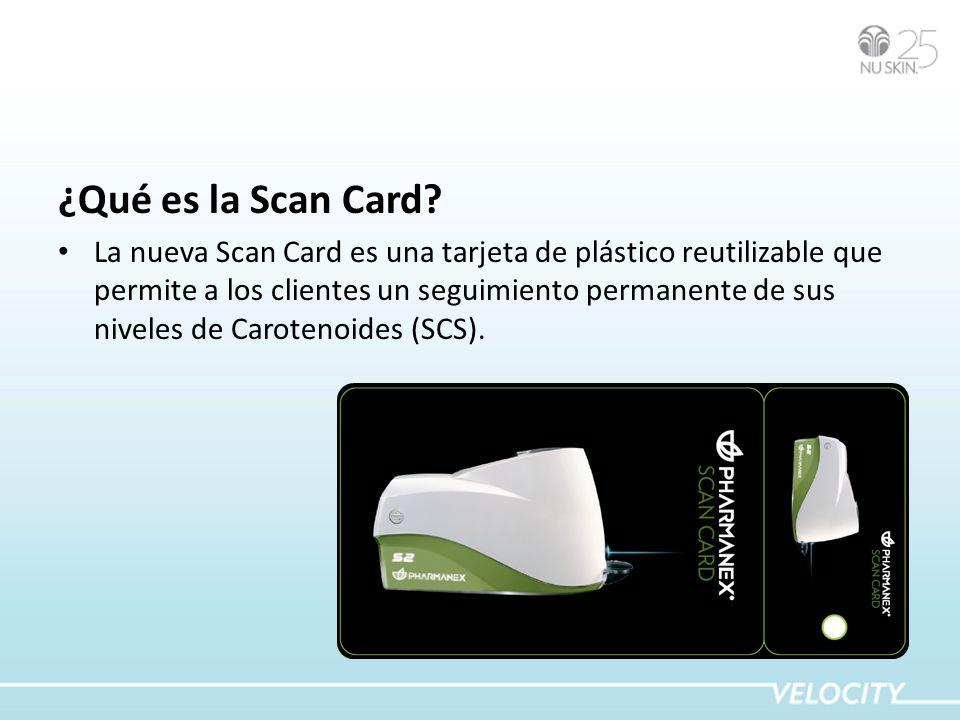 ¿Qué es la Scan Card? La nueva Scan Card es una tarjeta de plástico reutilizable que permite a los clientes un seguimiento permanente de sus niveles d