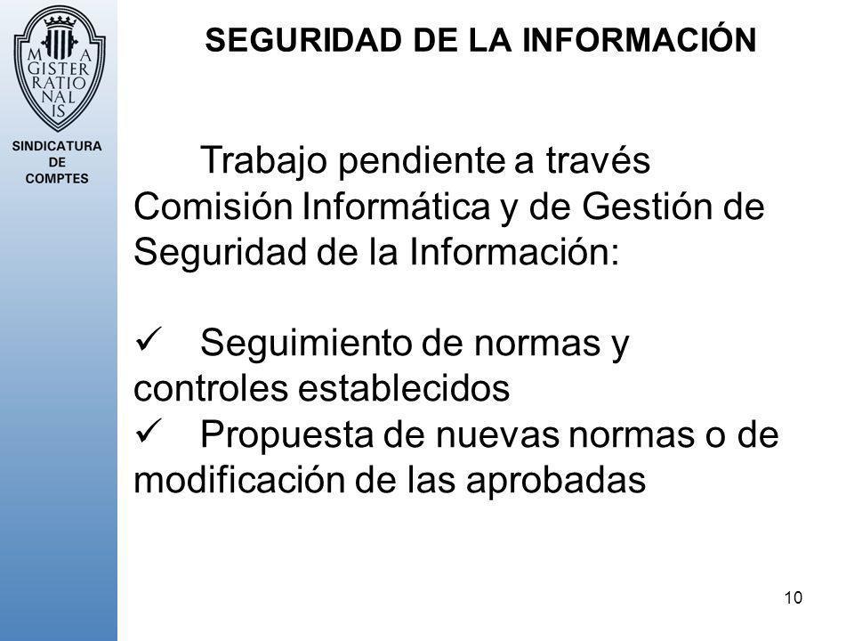 10 SEGURIDAD DE LA INFORMACIÓN Trabajo pendiente a través Comisión Informática y de Gestión de Seguridad de la Información: Seguimiento de normas y co