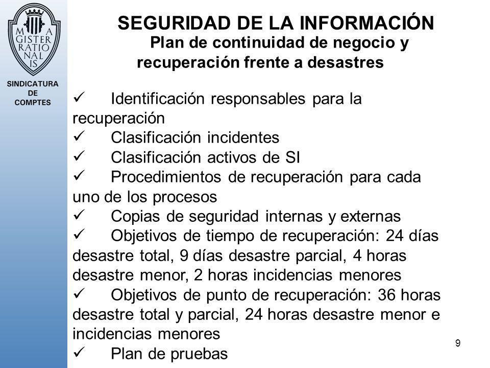 9 SEGURIDAD DE LA INFORMACIÓN Plan de continuidad de negocio y recuperación frente a desastres Identificación responsables para la recuperación Clasif