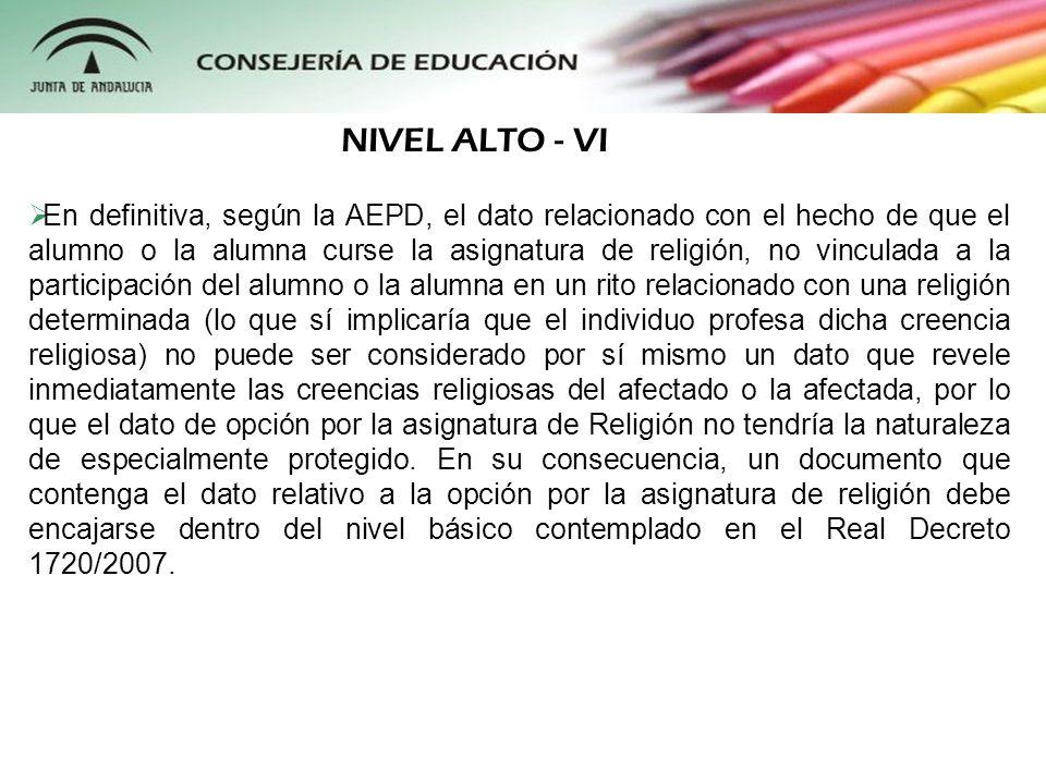 En definitiva, según la AEPD, el dato relacionado con el hecho de que el alumno o la alumna curse la asignatura de religión, no vinculada a la partici