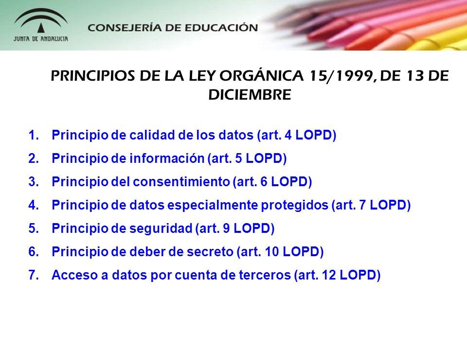 1.Principio de calidad de los datos (art. 4 LOPD) 2.Principio de información (art. 5 LOPD) 3.Principio del consentimiento (art. 6 LOPD) 4.Principio de