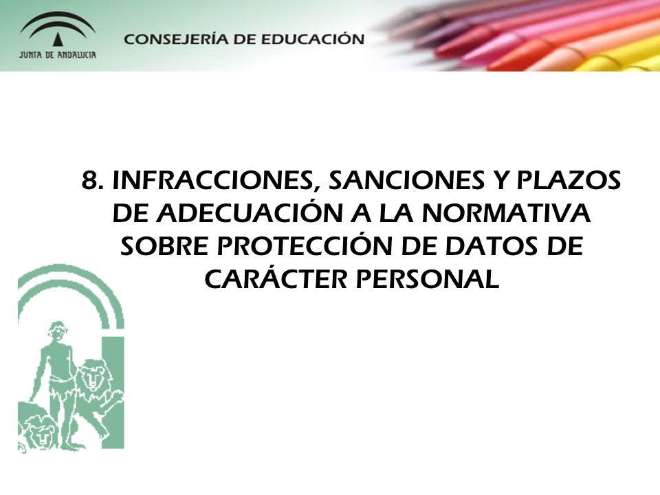 8. INFRACCIONES, SANCIONES Y PLAZOS DE ADECUACIÓN A LA NORMATIVA SOBRE PROTECCIÓN DE DATOS DE CARÁCTER PERSONAL