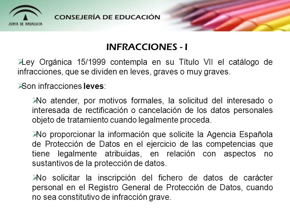 Ley Orgánica 15/1999 contempla en su Título VII el catálogo de infracciones, que se dividen en leves, graves o muy graves. Son infracciones leves: No
