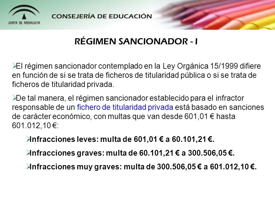 El régimen sancionador contemplado en la Ley Orgánica 15/1999 difiere en función de si se trata de ficheros de titularidad pública o si se trata de fi