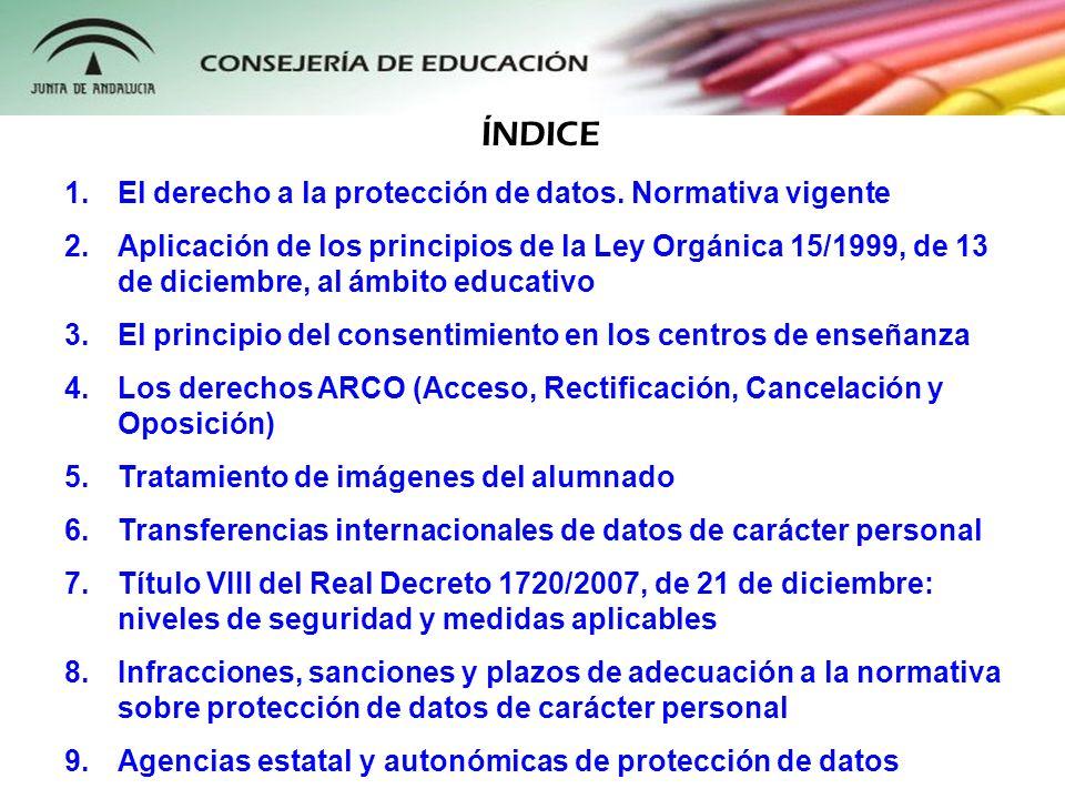 1.El derecho a la protección de datos. Normativa vigente 2.Aplicación de los principios de la Ley Orgánica 15/1999, de 13 de diciembre, al ámbito educ