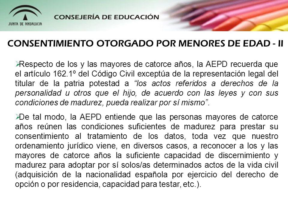 Respecto de los y las mayores de catorce años, la AEPD recuerda que el artículo 162.1º del Código Civil exceptúa de la representación legal del titula