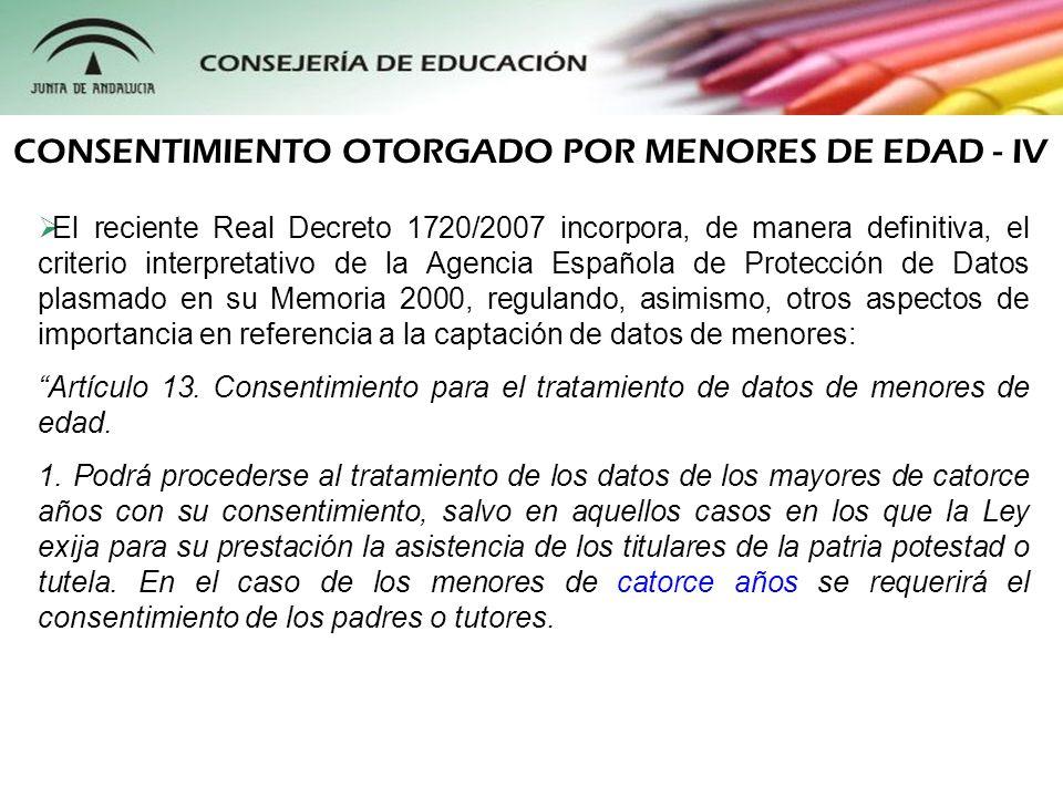 El reciente Real Decreto 1720/2007 incorpora, de manera definitiva, el criterio interpretativo de la Agencia Española de Protección de Datos plasmado