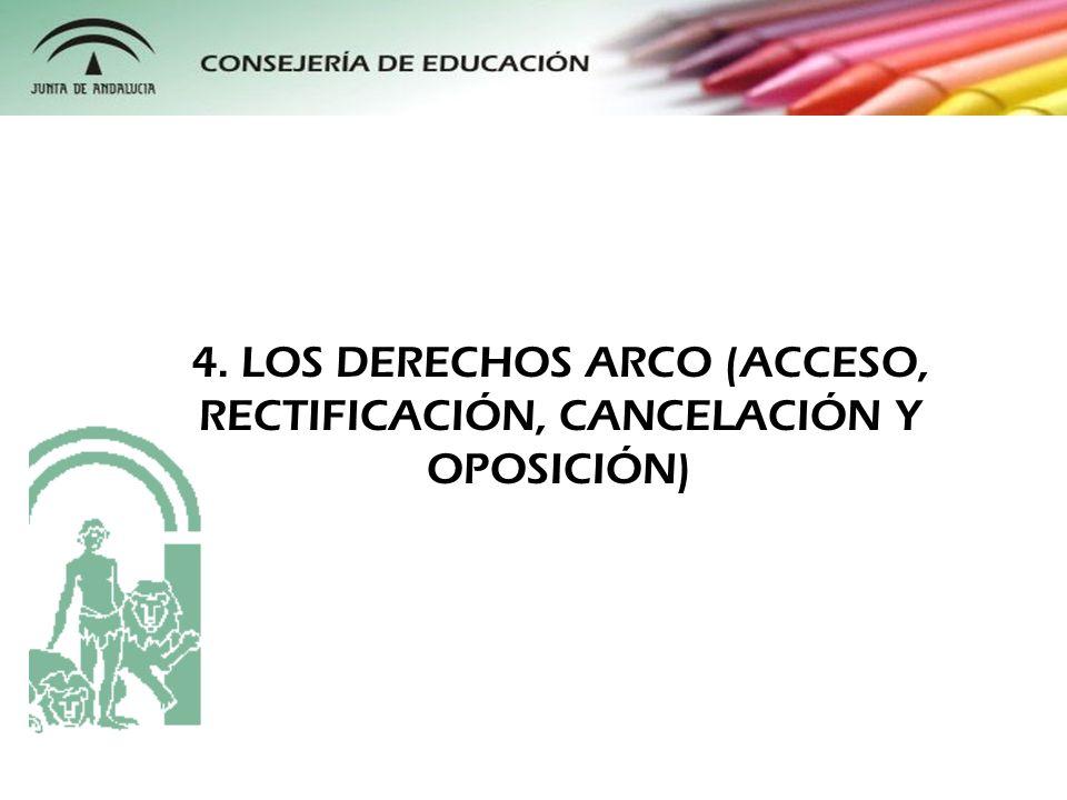 4. LOS DERECHOS ARCO (ACCESO, RECTIFICACIÓN, CANCELACIÓN Y OPOSICIÓN)