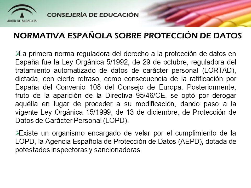 La primera norma reguladora del derecho a la protección de datos en España fue la Ley Orgánica 5/1992, de 29 de octubre, reguladora del tratamiento au