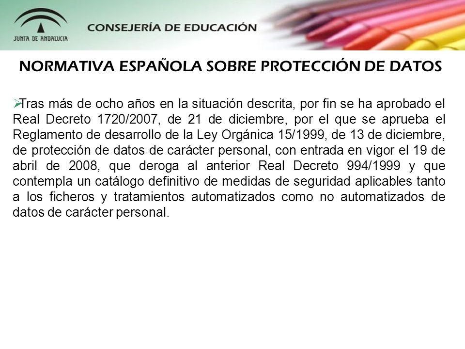 Tras más de ocho años en la situación descrita, por fin se ha aprobado el Real Decreto 1720/2007, de 21 de diciembre, por el que se aprueba el Reglame