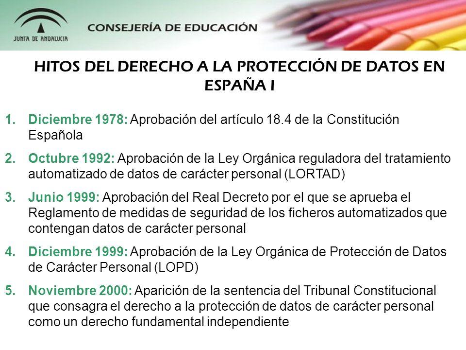 1.Diciembre 1978: Aprobación del artículo 18.4 de la Constitución Española 2.Octubre 1992: Aprobación de la Ley Orgánica reguladora del tratamiento au