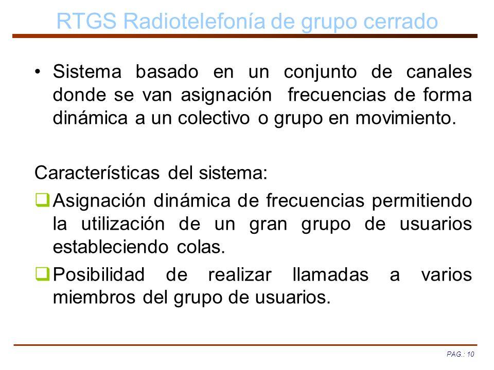 PAG.: 10 RTGS Radiotelefonía de grupo cerrado Sistema basado en un conjunto de canales donde se van asignación frecuencias de forma dinámica a un cole