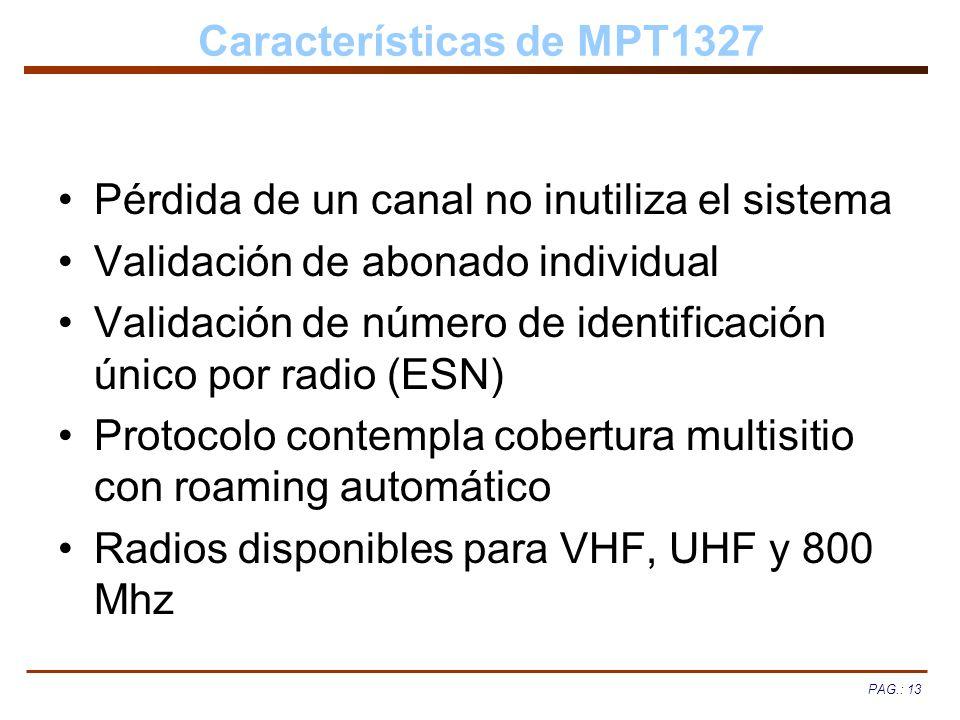PAG.: 13 Características de MPT1327 Pérdida de un canal no inutiliza el sistema Validación de abonado individual Validación de número de identificació