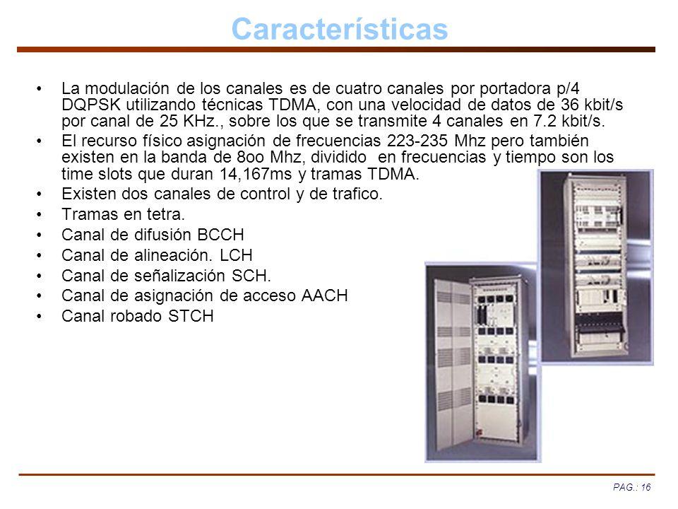 PAG.: 16 Características La modulación de los canales es de cuatro canales por portadora p/4 DQPSK utilizando técnicas TDMA, con una velocidad de dato