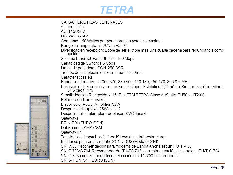 PAG.: 19 TETRA CARACTERÍSTICAS GENERALES Alimentación: AC: 115/230V DC: 24V o -24V Consumo: 150 Watios por portadora con potencia máxima. Rango de tem