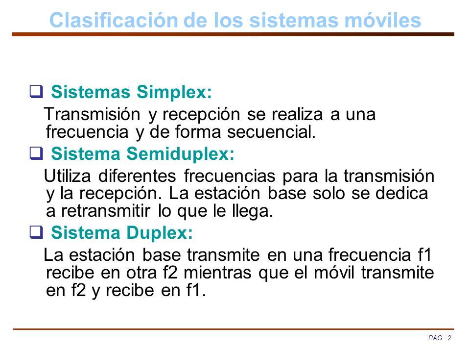 PAG.: 2 Clasificación de los sistemas móviles Sistemas Simplex: Transmisión y recepción se realiza a una frecuencia y de forma secuencial. Sistema Sem