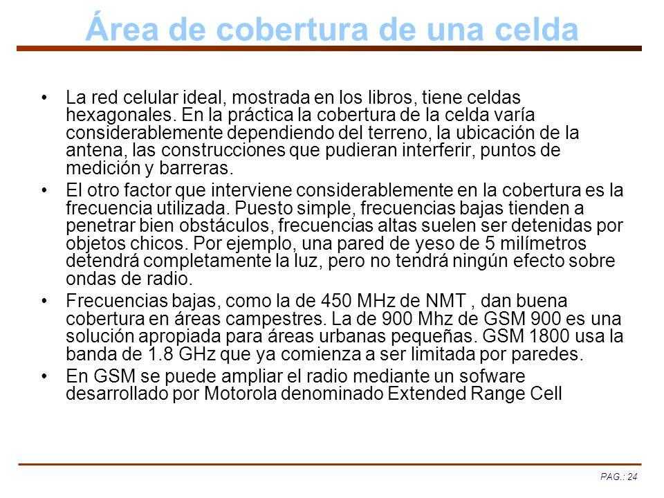 PAG.: 24 Área de cobertura de una celda La red celular ideal, mostrada en los libros, tiene celdas hexagonales. En la práctica la cobertura de la celd