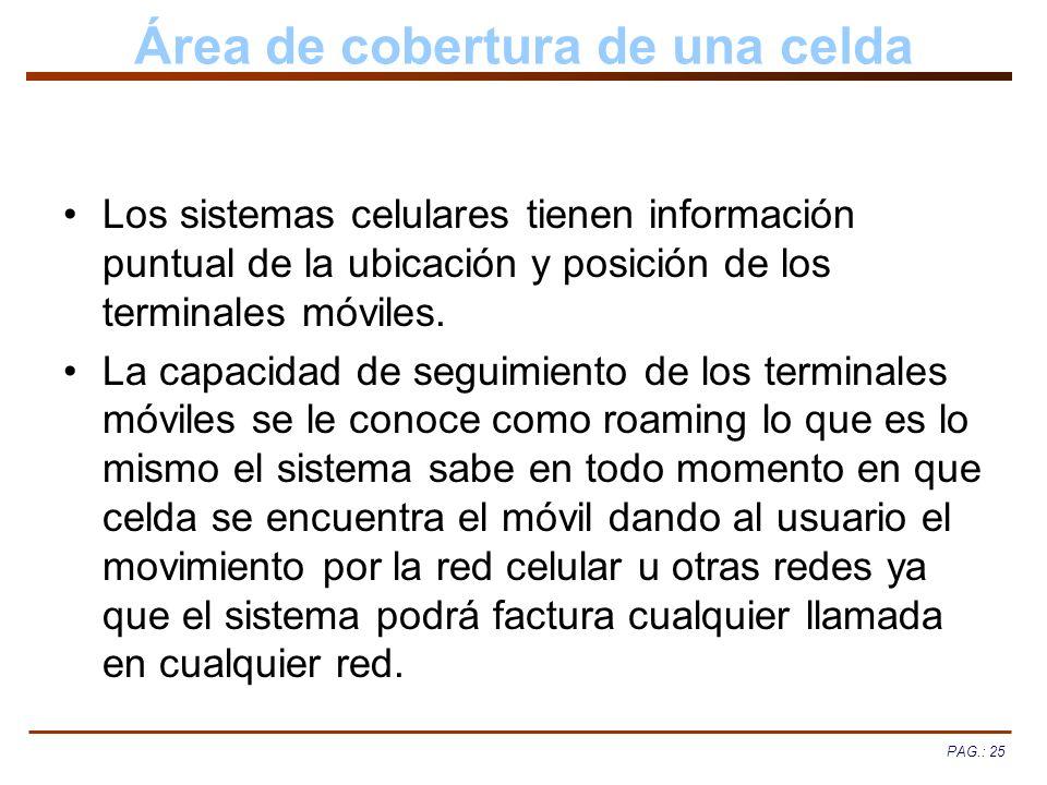 PAG.: 25 Área de cobertura de una celda Los sistemas celulares tienen información puntual de la ubicación y posición de los terminales móviles. La cap