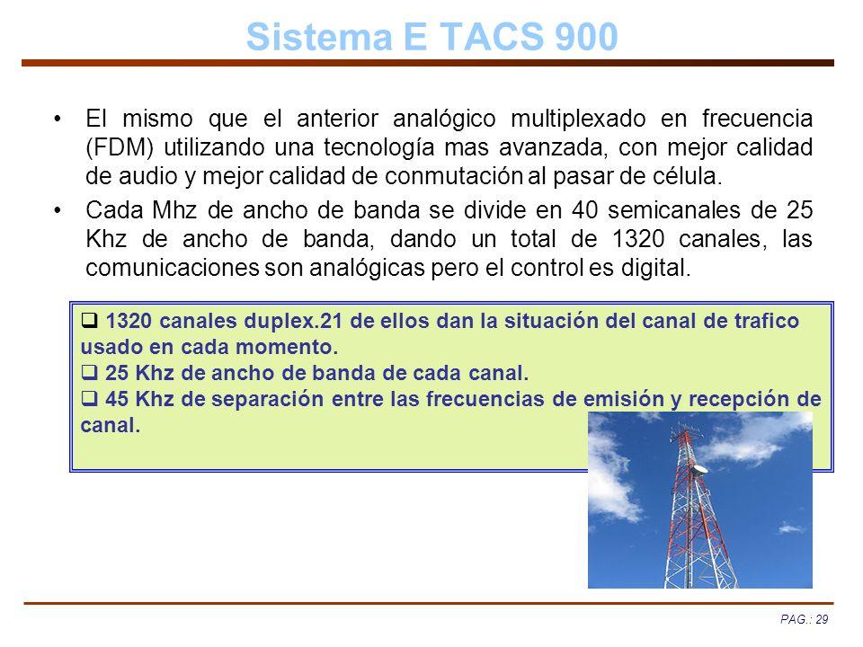 PAG.: 29 Sistema E TACS 900 El mismo que el anterior analógico multiplexado en frecuencia (FDM) utilizando una tecnología mas avanzada, con mejor cali