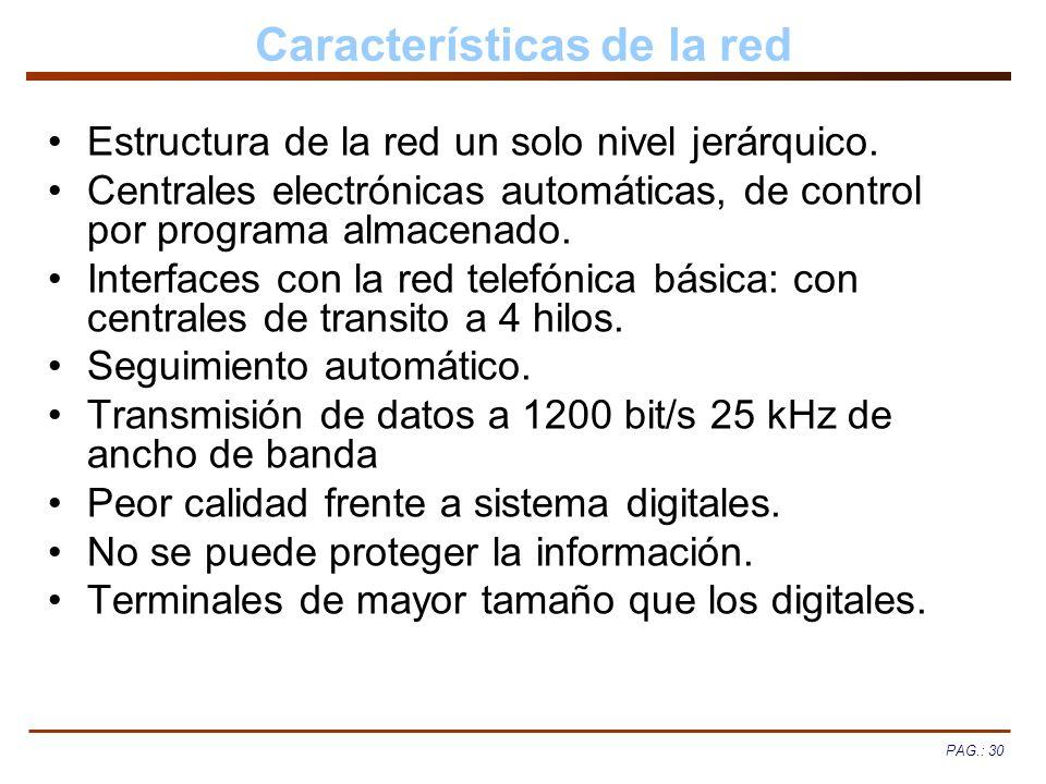 PAG.: 30 Características de la red Estructura de la red un solo nivel jerárquico. Centrales electrónicas automáticas, de control por programa almacena