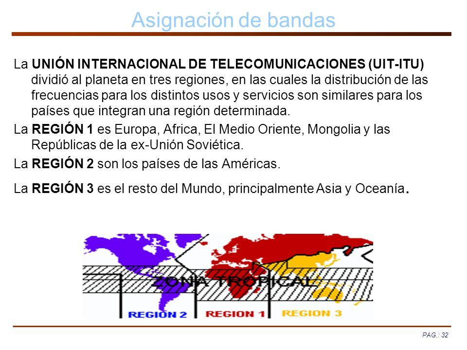 PAG.: 32 Asignación de bandas La UNIÓN INTERNACIONAL DE TELECOMUNICACIONES (UIT-ITU) dividió al planeta en tres regiones, en las cuales la distribució