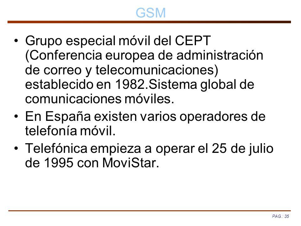 PAG.: 35 GSM Grupo especial móvil del CEPT (Conferencia europea de administración de correo y telecomunicaciones) establecido en 1982.Sistema global d