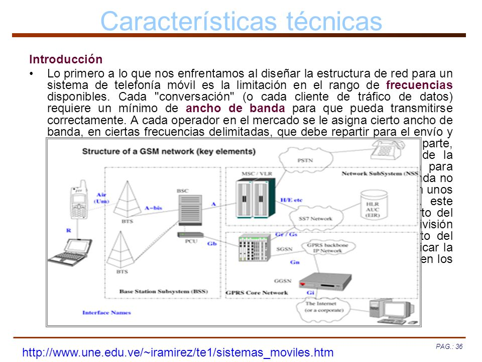 PAG.: 36 Características técnicas Introducción Lo primero a lo que nos enfrentamos al diseñar la estructura de red para un sistema de telefonía móvil