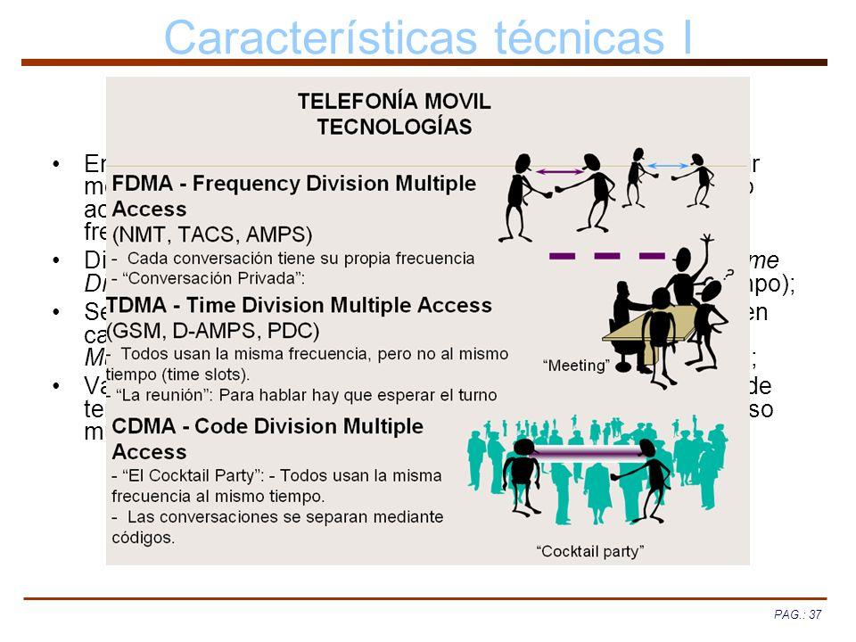 PAG.: 37 Características técnicas I Empleo de celdas contiguas a distintas frecuencias para repartir mejor las frecuencias (SDMA, Space Division Multi