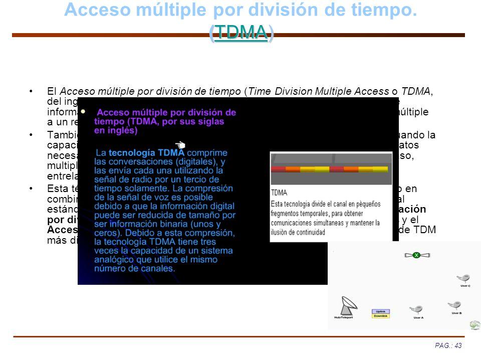 PAG.: 43 (TDMA) Acceso múltiple por división de tiempo. (TDMA)TDMA El Acceso múltiple por división de tiempo (Time Division Multiple Access o TDMA, de