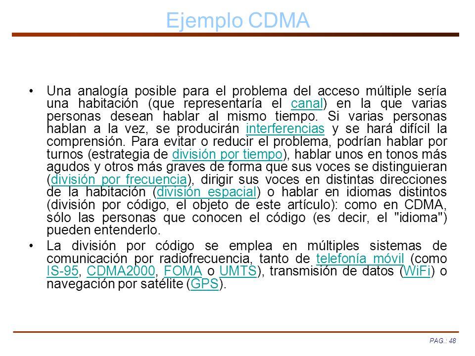 PAG.: 48 Ejemplo CDMA Una analogía posible para el problema del acceso múltiple sería una habitación (que representaría el canal) en la que varias per
