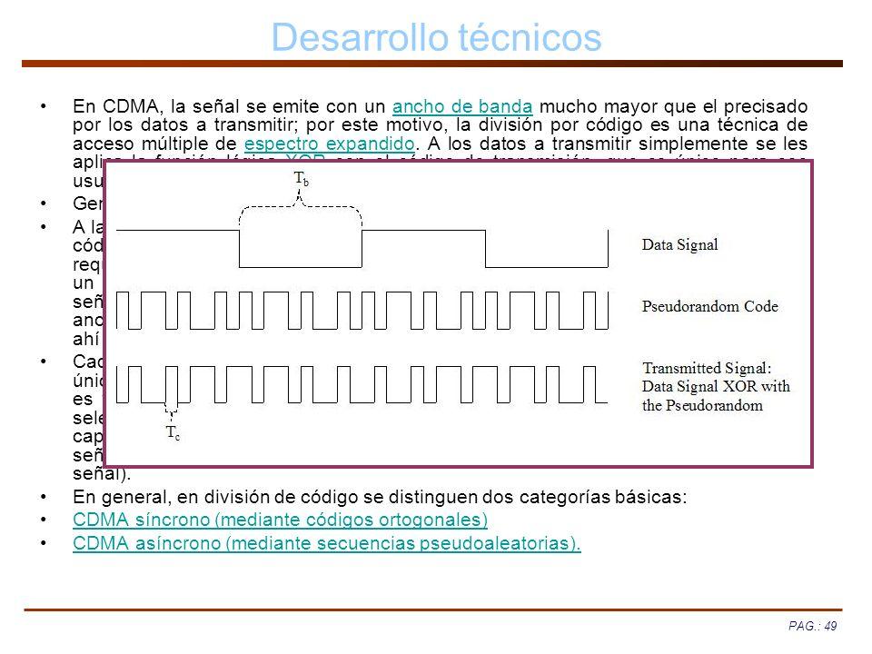 PAG.: 49 Desarrollo técnicos En CDMA, la señal se emite con un ancho de banda mucho mayor que el precisado por los datos a transmitir; por este motivo