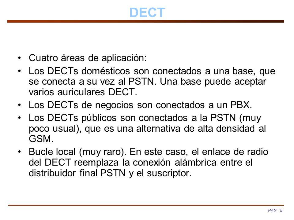 PAG.: 5 DECT Cuatro áreas de aplicación: Los DECTs domésticos son conectados a una base, que se conecta a su vez al PSTN. Una base puede aceptar vario